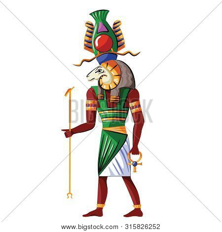 Ancient Egypt God Source Of Nile Khnum Cartoon Vector. Egyptian Culture Religious Symbol, Creator Go