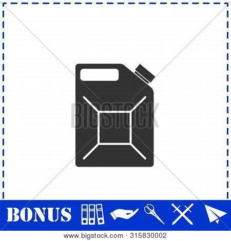 Jerrycan Oil Icon Flat. Simple Vector Symbol And Bonus Icon