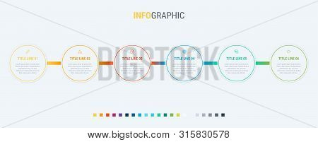 Vector Infographics Timeline Design Template With Rounded Elements. Content, Schedule, Timeline, Dia