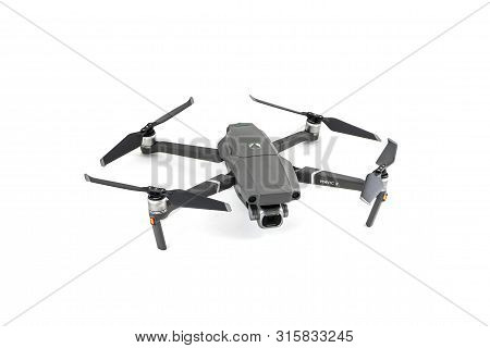 Sankt-petersburg, Russia - August 5, 2019: New Drone Dji Mavic 2 Pro Over White Background, Ready To
