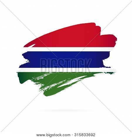 Gambia Flag. Vector Illustration On A White Background. Brush Strokes Are Drawn By Hand.