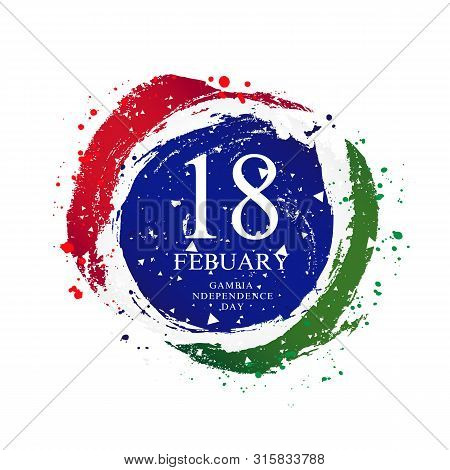 Gambian Flag In The Shape Of A Circle. February 18 - Gambia Independence Day. Vector Illustration On