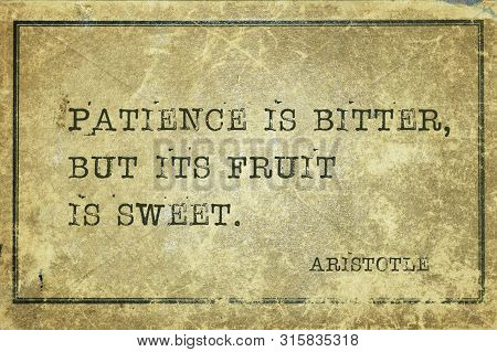 Patience Is Bitter, But Its Fruit Is Sweet - Ancient Greek Philosopher Aristotle Quote Printed On Gr