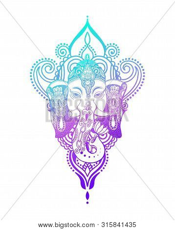 Lord Ganesha Head With Lotus Drawing - Indian Spirit Animal Elephant Tattoo Or Yoga Design