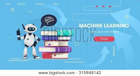 Smiling Robot Staying With Stack Of Books  And Brain Icon In Speech Bubble. Machine Learning Concept