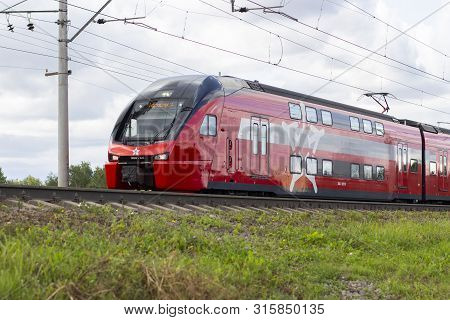 04-08-2019, Vidnoe, Russia. Modern Red Double-decker Train Express Airport Passenger Delivery, Aeroe