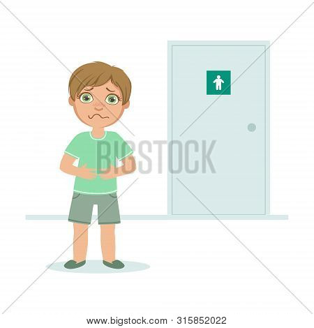 Boy With Full Bladder Wanting To Pee, Kid Standing In Front Of Wc Door Vector Illustration