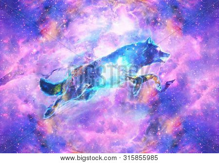 Abstract Artistic Digital Paint Of A Colorful Wolf Jumping Ahead In A Multicolored Galactic Nebula B