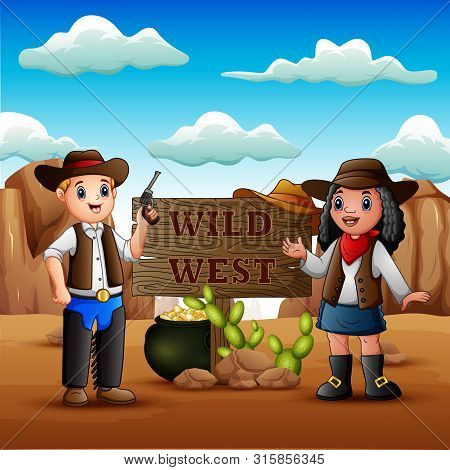 Cowboy And Cowgirl On The Background Of Rocky Desert