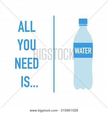 Simple Water Bottle Golden Health Rule Vector Illustration