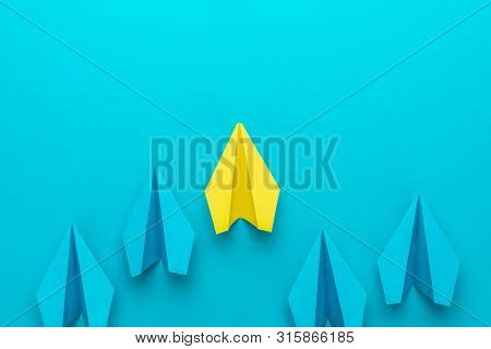Flat Lay Image Of Business Competition Concept. Leadership Concept With Paper Planes Over Turquoise