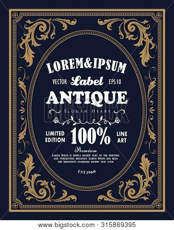 Vintage Frame Border Label Retro Hand Drawn Engraving Antique Vector Illustration