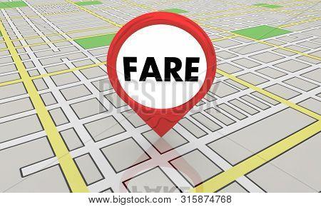 Fare Taxi Cab Ride Hail Customer Map Pin 3d Illustration