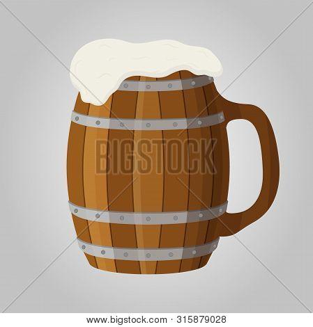 Oktoberfest Concept, Wooden Tankard, Mug And Cup
