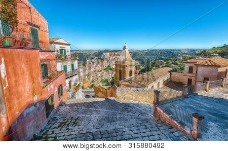 Sunrise  At The Old Baroque Town Of Ragusa Ibla In Sicily. Ragusa Ibla Cityscape At Day In Val Di No