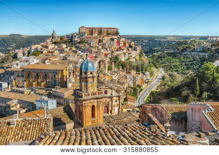 Sunrise  At The Old Baroque Town Of Ragusa Ibla In Sicily. Historic Center Called Ibla Builded In La