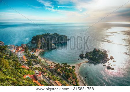 Panoramic Aerial View Of Isola Bella Island And Beach In Taormina. Giardini-naxos Bay, Ionian Sea Co