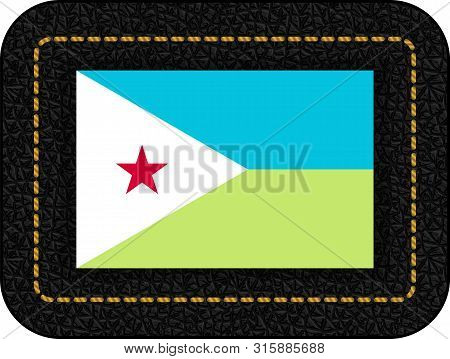Flag Of Djibouti. Vector Icon On Black Leather Backdrop. Ratio 2:3