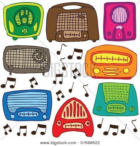 Vintage radios vector