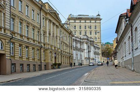 Architecture Of Baltic Countries. Vilnius Street. Old City. Ancient European Town. Urban Landscape.