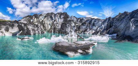 Fantastic View On Solheimajokull Glacier In Katla Geopark On Icelandic Atlantic South Coast. Locatio