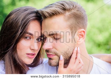Sexual Attraction. Romantic Date. Handsome Man Pretty Girl In Love. Attractive Couple. Relaxing With