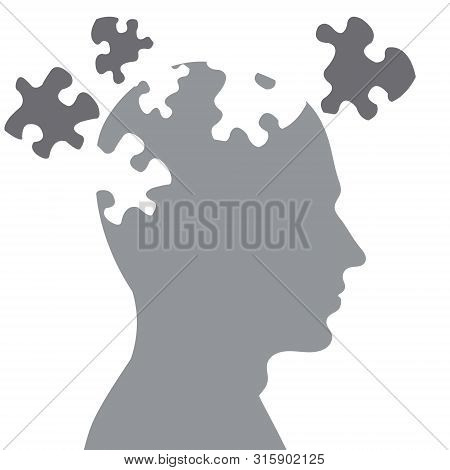 Missing Pieces Mental Puzzle.missing Pieces Mental Puzzle Drawing By Illustration. Human Brain With