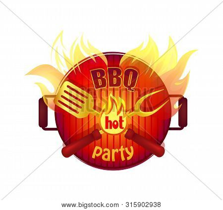 Bbq Hot Party Barbeque Isolated Icon Vector With Text. Frying Pan Fire And Flames And Cutlery Flatwa