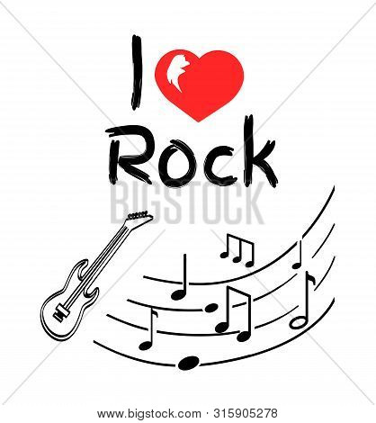 Love Rock Music Style Poster With Notes Monochrome Sketches Vector. Heart And Guitar Music Instrumen