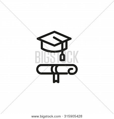 Bachelor Diploma Line Icon. Cap, Paper, Degree. Academy Concept. Can Be Used For Topics Like Educati