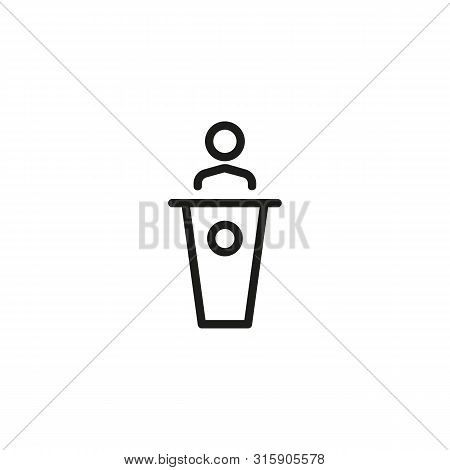 Business College Line Icon. Education, Seminar, Coach. Congress Hall Concept. Can Be Used For Topics