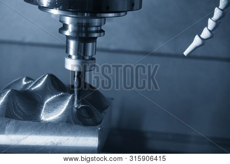 The Cnc Milling Machine Rough Cutting The Mould Parts With Indexable Ball Endmill Tool.the Mould And