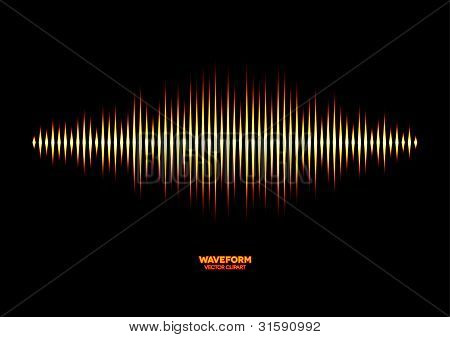 Shiny yellow fire styled sound waveform with sharp edges poster
