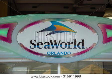 Orlando, Florida. July 26, 2019. Top View Of Seaworld Orlando Sign In International Drive Area.