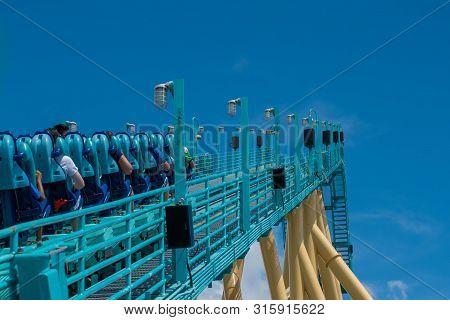 Orlando, Florida. July 31, 2019. People Having Fun Amazing Kraken Rollercoaster At Seaworld 29
