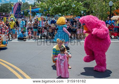 Orlando, Florida. July 30, 2019. Prairie Dawn And Telly Monster In Sesame Street Party Parade At Sea
