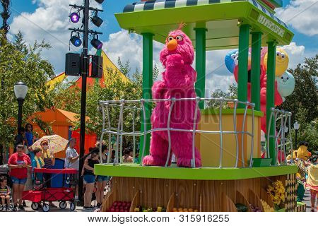 Orlando, Florida. July 30, 2019. Telly Monter In Sesame Street Party Parade At Seaworld.