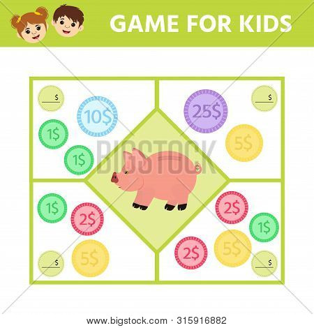 Matching Education Game For Kids. Count The Coins In Piggy Bank. Activity Sheet. An Evolving Economi