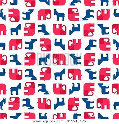 Elephant And Donkey Usa Pattern Seamless. Republican And Democrat Party America Background. Vector T