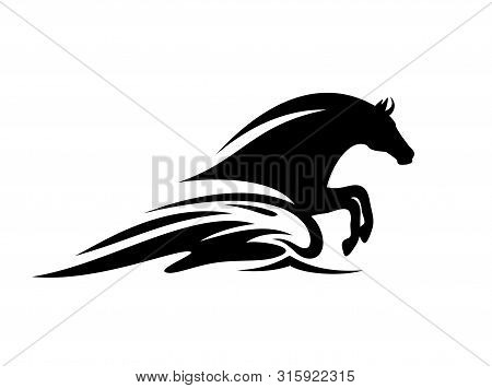 Mythical Sea Horse Jumping In Ocean Wave - Black And White Aquatic Stallion Vector Silhouette Design