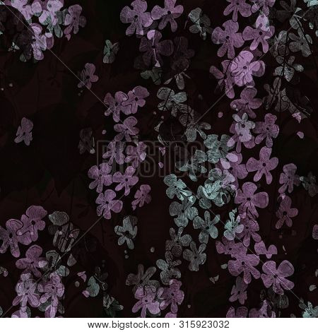 Seamless Pattern With Flowers And Leaves. Mix-media Design With Digital Illustration And Watercolor