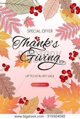 Thanksgiving Day Banner Background. Celebration Quotation For Card, Vector Illustration. Autumn Seas