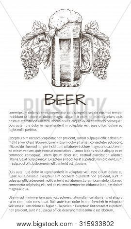 Foamy Beer Mug With Hop Plant Hand Drawn Vector Illustration, Advertisment Monochrome Poster For Bre