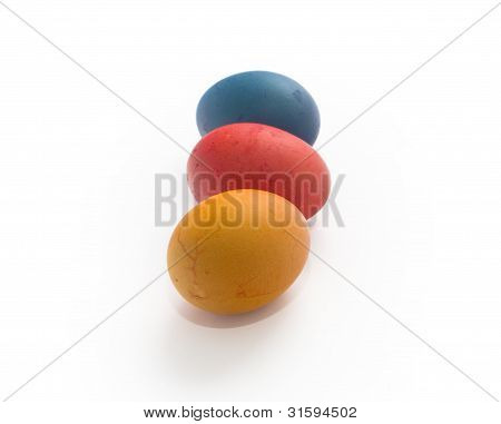 Three Multi-coloured Painted Eggs Easter