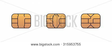 Emv Gold Chip Icon For Bank Plastic Credit Or Debit Charge Card. Vector Symbol Illustration Set