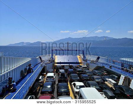 Keramoti, Greece - July 7, 2019 : Cars On Thassos Ii Ferryboat