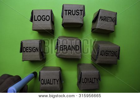 Brand, Design, Logo, Trust, Marketing, Advertising, Loyalty, Quality Text On Box Isolated On Green D