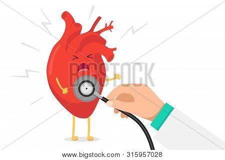 Cartoon Heart Character Unhealthy Sick Emoji Pain Emotion And Hand Holding Stethoscope Arrhythmia Ch
