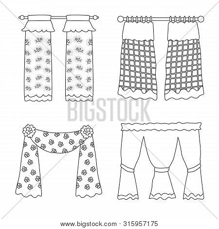 Vector Design Of Fabric And Decoration Icon. Collection Of Fabric And Cornice Stock Symbol For Web.