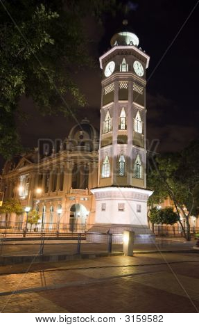 Clock Tower Night Guayaquil Ecuador